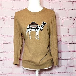 J Crew With Cashmere Camel Embroidered Sweater